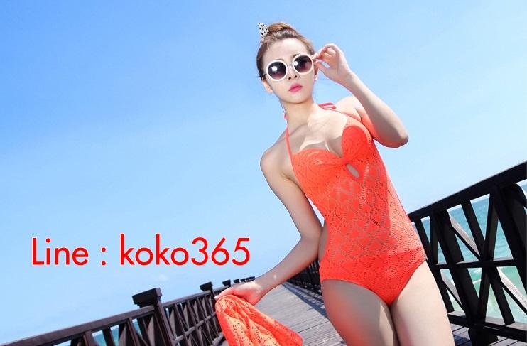 ชุดว่ายน้ำวินเทจ แบบวันพีช ซีทรูกลางตัว กระโปรงถอดได้ สีส้ม