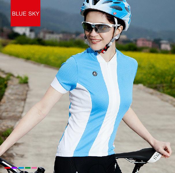 เสื้อปั่นจักรยานแขนสั้นผู้หญิง SOUKE ฟ้า : D2104