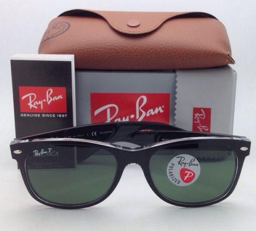 Ray Ban Wayfarer RB 2132 6052/58 Black on Clear Polarized