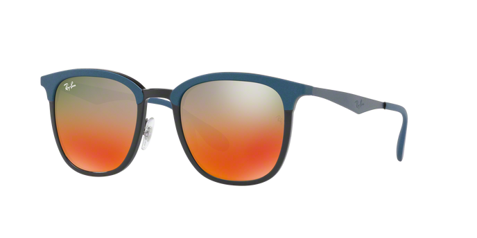 Ray Ban RB4278 6286A8 BLACK/MATTE BLUE Light Brown Mirror Red Grad