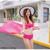 ชุดว่ายน้ำ บิกินี่ ทูพีช บราสายไขว้+ผ้าคลุม สีชมพู