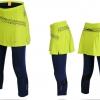 กางเกงกระโปรงปั่นจักรยานขายาวผู้หญิง 3/4 SOUKE สีเขียว : SKT0204