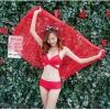 ชุดว่ายน้ำ บิกินี่ ทูพีช บราสายไขว้+ผ้าคลุม สีแดง