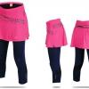 กางเกงกระโปรงปั่นจักรยานขายาวผู้หญิง 3/4 SOUKE สีชมพู : SKT0205