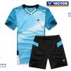 ชุดแบดมินตัน เสื้อแบดมินตัน VICTOR สีฟ้า : 415