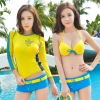 ชุดว่ายน้ำ บิกินี่เซ็ท 3 ชิ้น เสื้อแขนยาว สีเหลือง