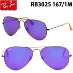 Ray Ban RB3025 167/1M Aviator Bronze Frame Violet Mirrored