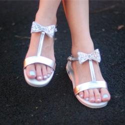 Eve Sandal Glitter bow (Silver) รองเท้าแตะ โบว์กลิตเตอร์ สีเงิน