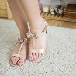 Eve Sandal Glitter bow (Rose Gold) รองเท้าแตะ โบว์กลิตเตอร์ สีโรสโกลด์