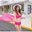 ชุดว่ายน้ำ บิกินี่ ทูพีช บราสายไขว้+ผ้าคลุม สีชมพู thumbnail 1