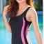 ชุดว่ายน้ำวันพีช แบบสปอร์ต ขาสั้น แถบสีชมพูลายจุด thumbnail 2