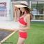 บิกินี่ ชุดว่ายน้ำแบบเซ็ท 3 ชิ้น พร้อมเดรสชีฟอง สีแดง thumbnail 6