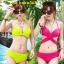 ชุดว่ายน้ำ บิกินี่ ทูพีช บราผูก Pink thumbnail 3