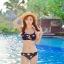 ชุดว่ายน้ำ บิกินี่เซ็ท 3 ชิ้น ลายดอกขาว พื้นน้ำเงิน thumbnail 1