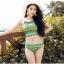 บิกินี่ ชุดว่ายน้ำแบบเซ็ท + กางเกงขาสั้น ลายชนเผ่า สีเขียว thumbnail 2