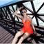 ชุดว่ายน้ำวินเทจ แบบวันพีช ซีทรูกลางตัว กระโปรงถอดได้ สีส้ม thumbnail 2