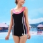 ชุดว่ายน้ำวันพีช แบบสปอร์ต ขาสั้น สีดำแถบขาว thumbnail 3