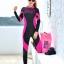 ชุดดำน้ำ เวทสูท ซิปหน้า สีชมพู-ดำ thumbnail 4