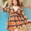 ชุดว่ายน้ำทูพีช แบบเซ็ท ลายดอกสีส้ม แถมเสื้อคลุม thumbnail 1