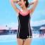 ชุดว่ายน้ำวันพีช แบบสปอร์ต ขาสั้น สีดำแถบขาว thumbnail 1