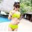 ชุดว่ายน้ำ บิกินี่ ทูพีช บราผูก เขียวตอง thumbnail 2