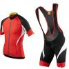 ชุดปั่นจักรยานแขนสั้นทีม เสื้อปั่นจักรยาน กับ กางเกงปั่นจักรยานเอี๊ยม สีแดงดำ 217