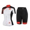 ชุดปั่นจักรยานผู้หญิงแขนสั้นทีม Castelli 3T เสื้อปั่นจักรยาน กับ กางเกงปั่นจักรยาน สีดำแดง 290