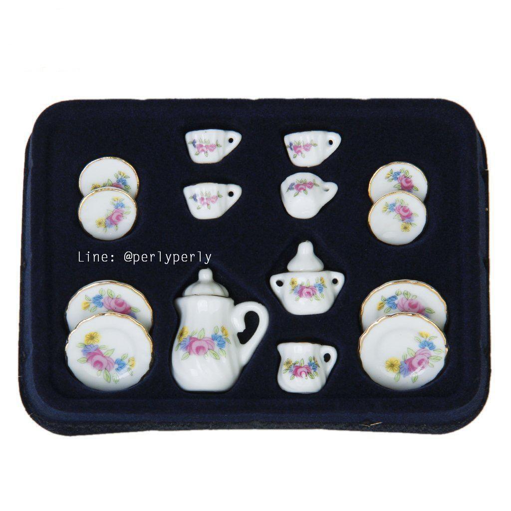 Dollhouse Miniature Lavender Floral Ceramic Beverage Set